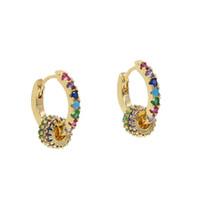 Kleiner Reifen mit bunten cz Kreis schwimmenden Perlen einzigartige Mode Frauen Mädchen Mix cz Farbe Huggie kleinen Creolen