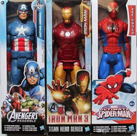 htt Genuine Spiderman Marvel Avengers Assemble Titan Hero Captain America PVC 3D Model 12inch Action Figure Doll Toys For Children