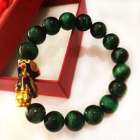 B27 Bracelet naturel Cristal Précieuses Vert / Bleu Tiger Eye Perle Bracelet Couleur Pixiu Accessoires Bijoux
