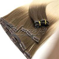 Brazilian PU Tressen Nahtlose Klipp in 120g blonde Omber Gerade Häutchen-Aligned Remy Jungfrau-Menschennaturfarbe braun Haarverlängerungen