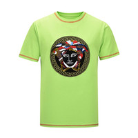 Brand logo European Paris embroidery color man skull print T...