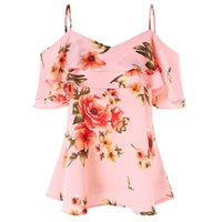 Russia Free shipped Print chiffon tops with ruffled halter s...