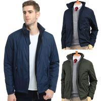 Cortaviento chaqueta para los hombres interior de polar gruesos calientes Ocultar Sombrero collar de nylon a prueba de agua de abrigo estilo corto hombre