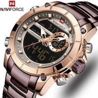 Naviforce Luxury Мужской Часы с светящимся циферблатом Digital Quartz Top Brand Man часы 2019 Brand Luxury Мужские часы Dual Display LY191226