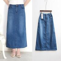 Neue Art und Weise elastische hohe Taille Lange A-Linie S bis 2XL plus Größe Denim Jeans Frühling und Sommer-Art-Frauen-Rock
