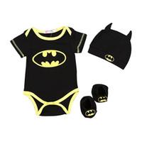 새로운 아기 크롤러 정장 만화 배트맨 의류 운동복 3PCS 어린이 아기 소년 세트 정장 캡 + 의류 + 양말 의상 HNLY16