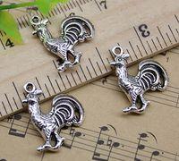 40 قطع الديك الديك الحيوان سبيكة سحر قلادة ريترو مجوهرات جعل diy المفاتيح القديمة الفضة قلادة لسوار أقراط 20x18 ملليمتر