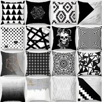 Geometric Cushion Cover Black and White Polyester Throw Pill...