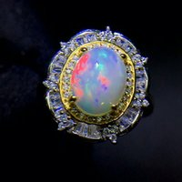 MeiBaPJ 8mm*10mm Natural Big Opal Gemstone Fashion Flower Ring for Women Real 925 Sterling Silver Charm Fine Wedding Jewelry