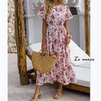 Casual Bohemian Print Women Maxi Dress 2020 Summer Flare Sle...