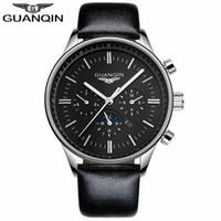 relogio de GUANQIN Montres Hommes Top Marque Luxe Chronographe militaire Quartz Montre Homme Sport bracelet en cuir montre-bracelet