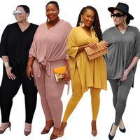 Женщины обычной V-образный вырез костюм плюс размер S-5XL 2 шт набора сплита попадающих случайного Hoodies одежды поножей сплошного цвет обмундирования каприте 3612