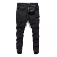black color fashion men jeans jogger pants youth punk style ...