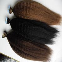 Band in Haarverlängerungen Italienisch / groben yaki 40pcs verworrene gerade Invisible Skin Weft Haar Adhesive Natürliche Echthaarverlängerungen