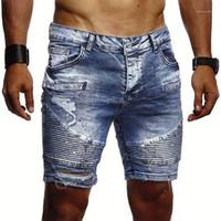 Erkek Moda ile Fermuar Kot Pantolon Kovboy Delik Katlanmış Şort Tasarımcı Katı Renk İnce Jean pantolon