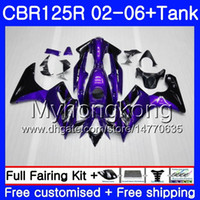 Body + Tank Purple black hot Para HONDA CBR-125R 125CC CBR125RR CBR125R 02 03 04 05 06 272HM.7 CBR 125 R 125R 2002 2003 2004 2005 2006 Carenado