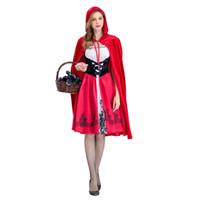 0daefb1a8c03f2 Frauen Rotkäppchen Kostüm Halloween Party Robe Dame Stickerei Kleid +  Mantel Cosplay Fantasia Game Uniform