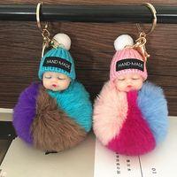 20шт Симпатичные Sleeping Baby Doll брелок Поддельный Pompom Rabbit Fur Ball Key Chain Плюшевые брелоков женщин держатель ключа сумка Подвеска игрушки