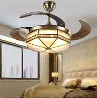 Лампа потолочный вентилятор LED 42-дюймовый медный мотор Традиционный потолочный вентилятор свет диммер Пульт дистанционного управления 110-220 В