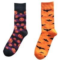 Cadılar Bayramı Pamuk Çorap Moda Kabak Bat Baskılı Çorap Orta Tüp Çorap Yetişkin Ter emici Nefes Çorap İçin Bay Bayan VT0475