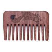 Bois peigne dents Barbe peigne Taille Pocket anti-statique Massage Soins des cheveux Nouveau cadeau 1PC