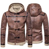 Chaqueta de abrigo de cuero de invierno, con capucha, botón de manga larga, remiendo de imitación de piel sintética para hombres, otoño