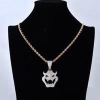 El oro de 18 quilates de oro blanco lleno plateado CZ Cubic Zirconia del vampiro de Halloween máscara de monstruo collar de cadena pendiente de la torcedura de Hip Hop joyería regalo para los hombres