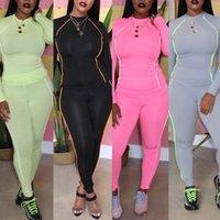 Fluoreszierende Trimmung Feste Athleisure Zwei Stück Kleid Set Frauen Trainingsanzug Langarm T-shirt Top Bleistift Hosen Weibliche Sportkleidung