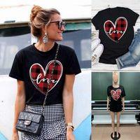 Hülsen-Frauen-T-Shirts beiläufige Frauen Kleidung Valentinstag Womens Designer-T-Shirts Mode Love Print Panelled Kurz