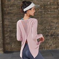 Roupas de ioga esporte manga comprida tops ginásio camisas de volta solta reversa drapeamento exercício t-shirts fitness wear