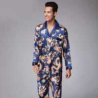 Mens de cetim de seda Pijamas Pijamas Set Pijamas Define Loungewear Dragão Impressão Pijamas Roupa de Noite Tops Casal 2PC e calças tamanho grande