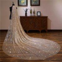 sparkly Blingbling Glitters Brautschleier Luxus Brautschleier Braut 3 * 3,5 Meter Lange Kathedrale Schleier Mit Kamm Peigne Mariage