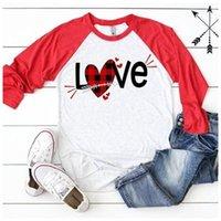 Love Letter Baskı Uzun Kollu Bayan Tees Casual Dişiler Giyim Sevgililer Günü Kadınlar Tasarımcı Tshirts Moda