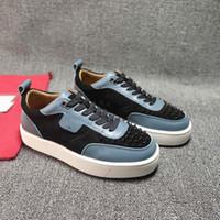 قيعان أحمر رجالي أحذية المسامير شقة أحذية رياضية عالية الجودة الرجال مصمم الأحذية حجم 38-47 نموذج HA04