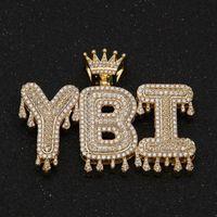 A-Z Nombre personalizado Burbuja letras Collares Moda Moda Hip Hop Joyería helado Out Gold Silver Crown Cleas inicial Letra Colgante Colgante