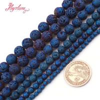 """6/8/10 mm Round Lava Rock bleu métallisé Coated plaqué perles en pierre naturelle pour les bijoux bricolage Bracelet Faire en vrac 15"""" Livraison gratuite"""