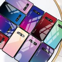 Tasarımcı Gradyan temperli cam Telefon Samsung S10 S9 S8 için Kılıf Artı Not 9 Sert Arka Kapak Tam Koruyucu Kabuk Ücretsiz Kargo