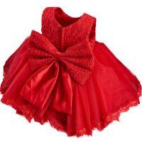 Robes Red Flower Girls Tutu 2020 Tout-petits petites filles Pageant Communion Attire Robe Invité de mariage Party Big Bow Tulle Dentelle pas cher
