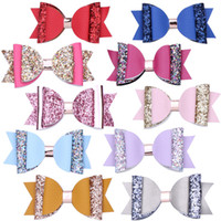 10 colors 4inch Double Layer Glitter Hair Bows Bowknot Girls...