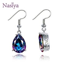 Jewelry 925 Sterling Silver Mystery Rainbow Crystal Earrings...
