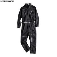 Erkek Uzun Kollu Tulumlar Tulum Hip Hop Gevşek Tulum Erkekler Streetwear Fermuar Joggers Kargo Pantolon Takım Elbise Tek Parça Onesie Set