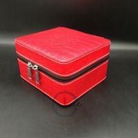 Qualitäts-rote Uhr Storgage Box 2 Slots Grid Zipper Krokodil PU-Leder Uhren Reiseboxen Schmuck Speicherorganisator-Kasten 15 * 9 * 14cm