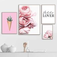 الوردي زهرة الصبار الأخضر الحب اقتباس ملصقات الشمال والمطبوعات جدار الفن قماش اللوحة جدار صور لغرفة المعيشة ديكور