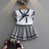 2019 Summer College style Camiseta de manga corta para niñas Tops + Falda corta 2PCS princess set Toddler Kids Baby Outfits Ropa 2-7Y