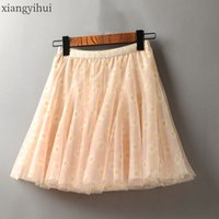 2020 New Summer High Waist Floral Print Mesh Skirt Womens Vi...