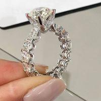 Уникальные винтажные моды ювелирные изделия настоящие 925 стерлингового серебра 925 белый Топаз CZ Diamond Gemstones Party Promise Женщины свадебный свадьба Bridal Ring подарок