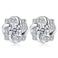 Moda cuadrado de la flor de zirconia cúbica 925 plata esterlina Señora Pendientes Joyería para la mujer de chicas cristales de SWAROVSKI E299