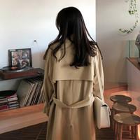 Al por mayor-Medio y largo abrigo rompevientos de las mujeres de color caqui para mujer de doble botonadura Trench Coat Trench Femme Nuevas mujeres elegantes HH50FY
