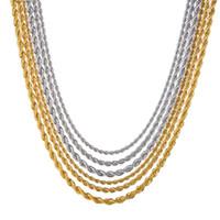 Varejo Atacado Cadeia Colar Prata Mulheres Colar Man 3mm18,20,24 polegadas de aço inoxidável torção corda cadeia de jóias