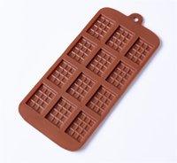 Molde de silicona 12 Incluso el molde del chocolate Fondant moldes DIY barra de caramelo del molde de la torta Decoración Herramientas Accesorios de cocina Hornear